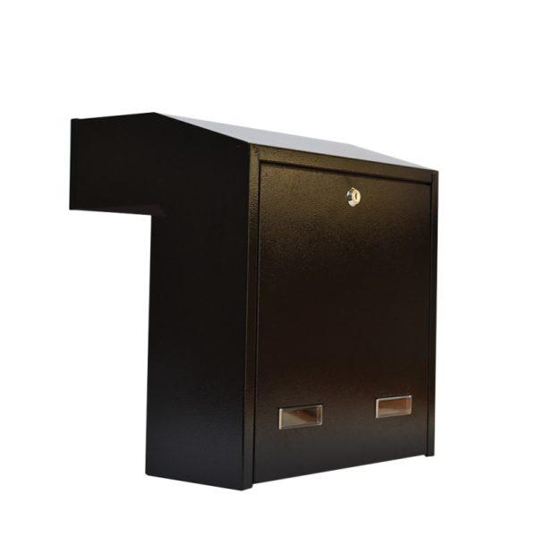 W3-4 XL Through the Wall Letterbox Black Rear Access Post Box