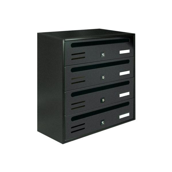 Communal dark grey wall mounted letterbox Cubo