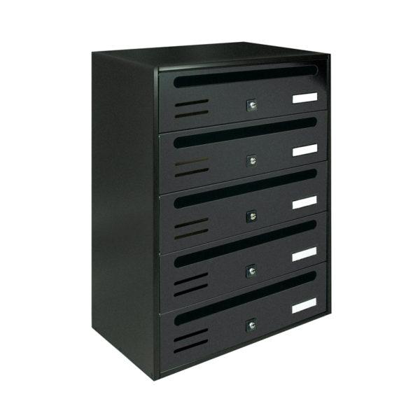Communal dark grey wall mounted letterbox Cubo bank of 5