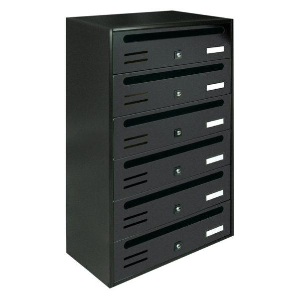 Communal dark grey wall mounted letterbox Cubo bank of 6