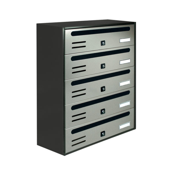 Communal stainless steel wall mounted letterbox Cubo