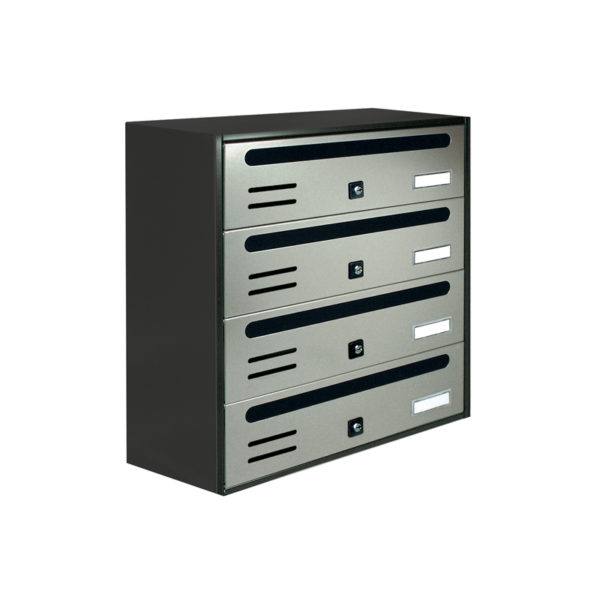 Communal stainless steel wall mounted letterbox Cubo bank of 4