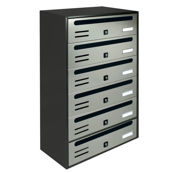 Communal stainless steel wall mounted letterbox Cubo bank of 6