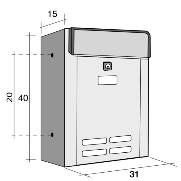 Drawing with dimensions of Magnum wall mounted external letterbox