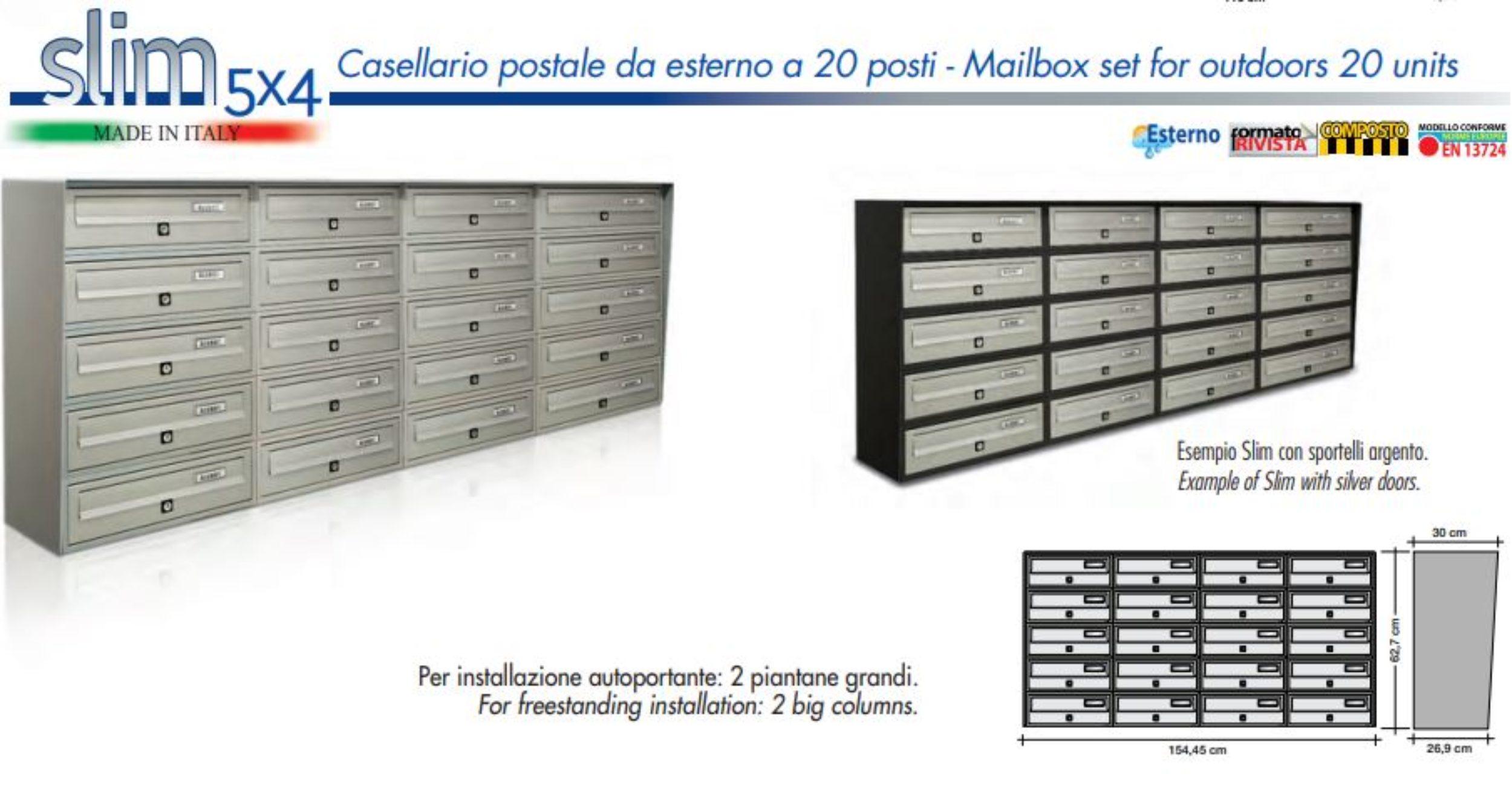 Slim wall mounted externalll post boxes Tocco Di Italia Bank of 20