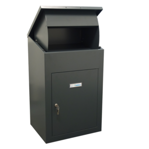 Delta external wall mounted parcel box in dark grey - front view