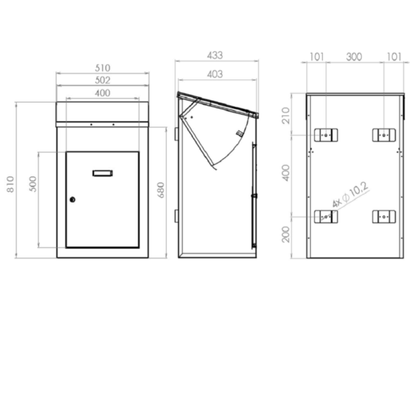 Delta Large Wall Mounted Parcel Drop Box drawings with dimensions
