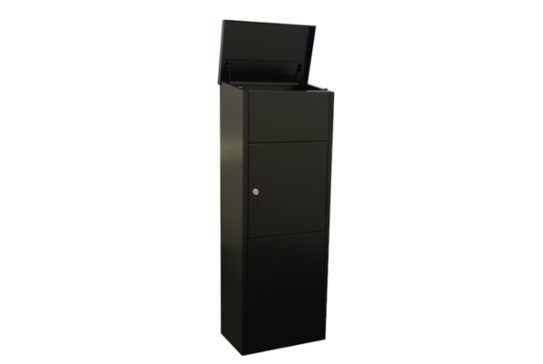 Zeta Free standing parcel box with lid open- Black