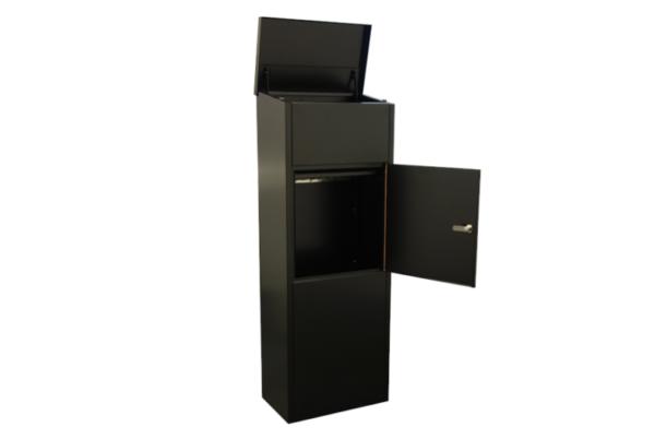 Zeta Freestanding parcel box in black with doors open