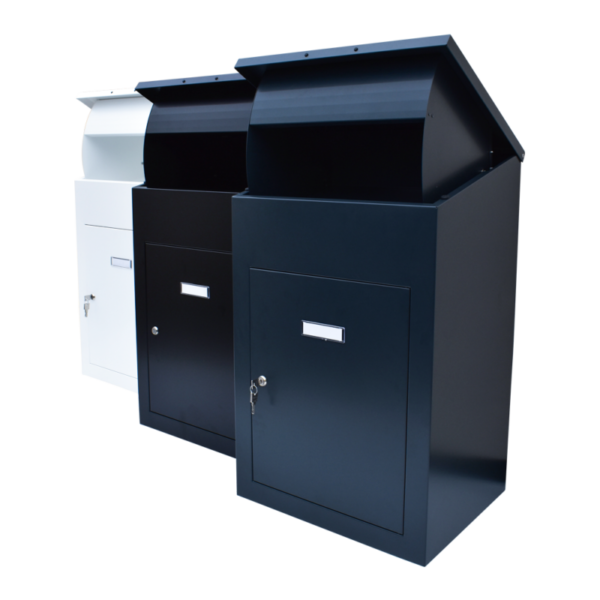 Delta XL Large Wall Mounted Parcel Box picture of all 3 colour variants black, white and dark grey side by side