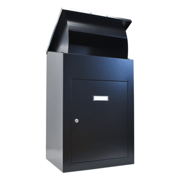 Delta XL Secure wall mounted parcel box in black front view with lid open