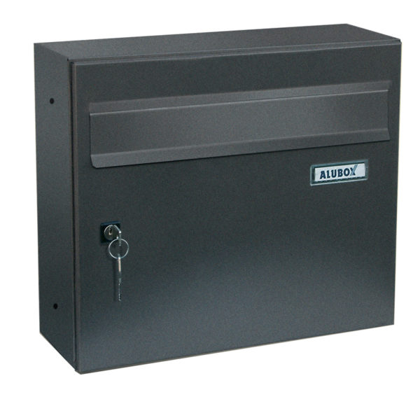 Giove wall mounted letterbox in dark grey showing front view
