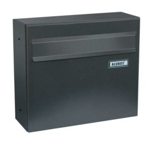 Venere dark grey rear access post box shown from the front
