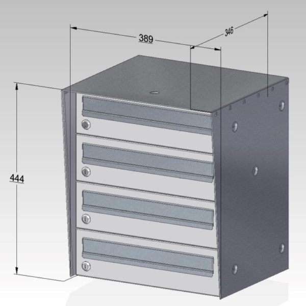 Urban Easy E3 External letterbox drawing withdimensions of bank of 4