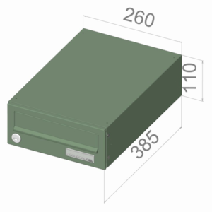 Drawing showing dimensions of LBD-016 City hall letterbox