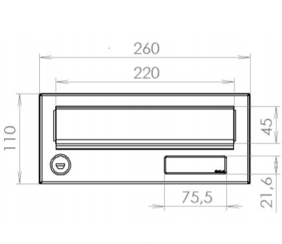 Dimension drawings of LBD-016 city hall letterbox