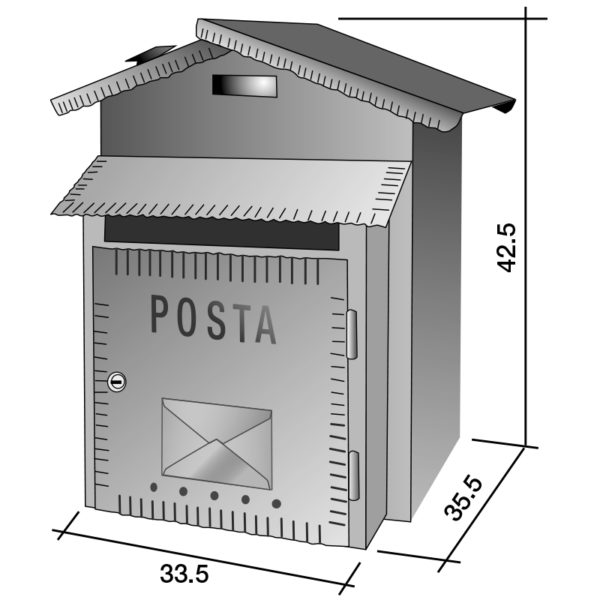 Image showing dimensions of Rustica XL letterbox
