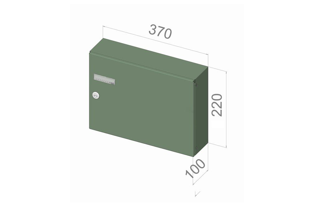 City Hall LAD-042 Panel mounted rear access letterboxes single with dimensions