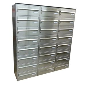 City Hall LBD-015 wall mounted internal-external communal post boxes stainless steel