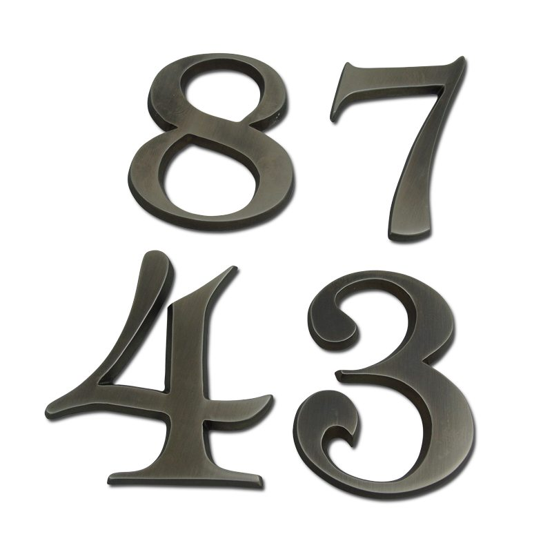 Brass house numbers. antique silver finish