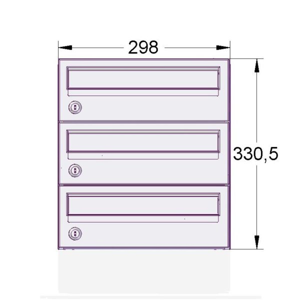 E2 wall mounted letterboxes front