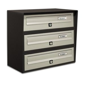 SLIM-Bank of 3 external letterboxes dark grey mix