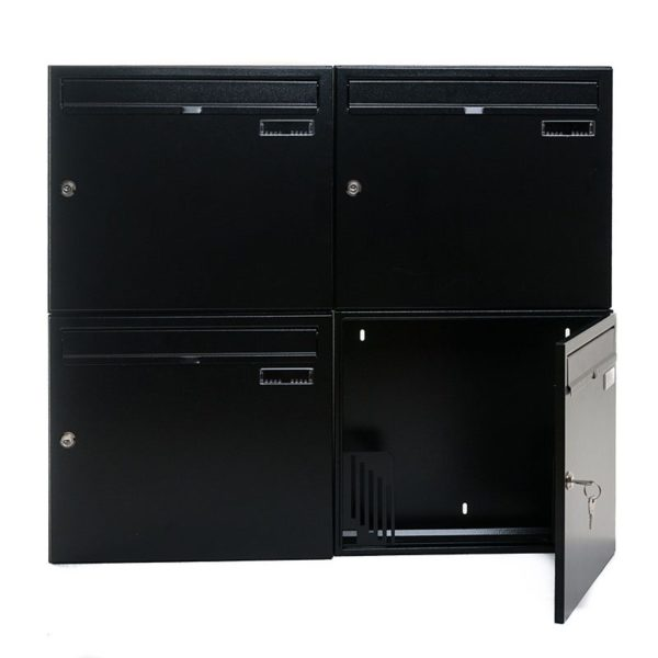 W4 Wall mounted external letterbox - Gang of four open