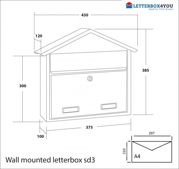 external wall mounted post box sd3 galvanised steel