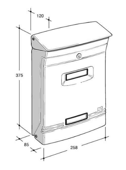 Wall mounted aluminium letterbox