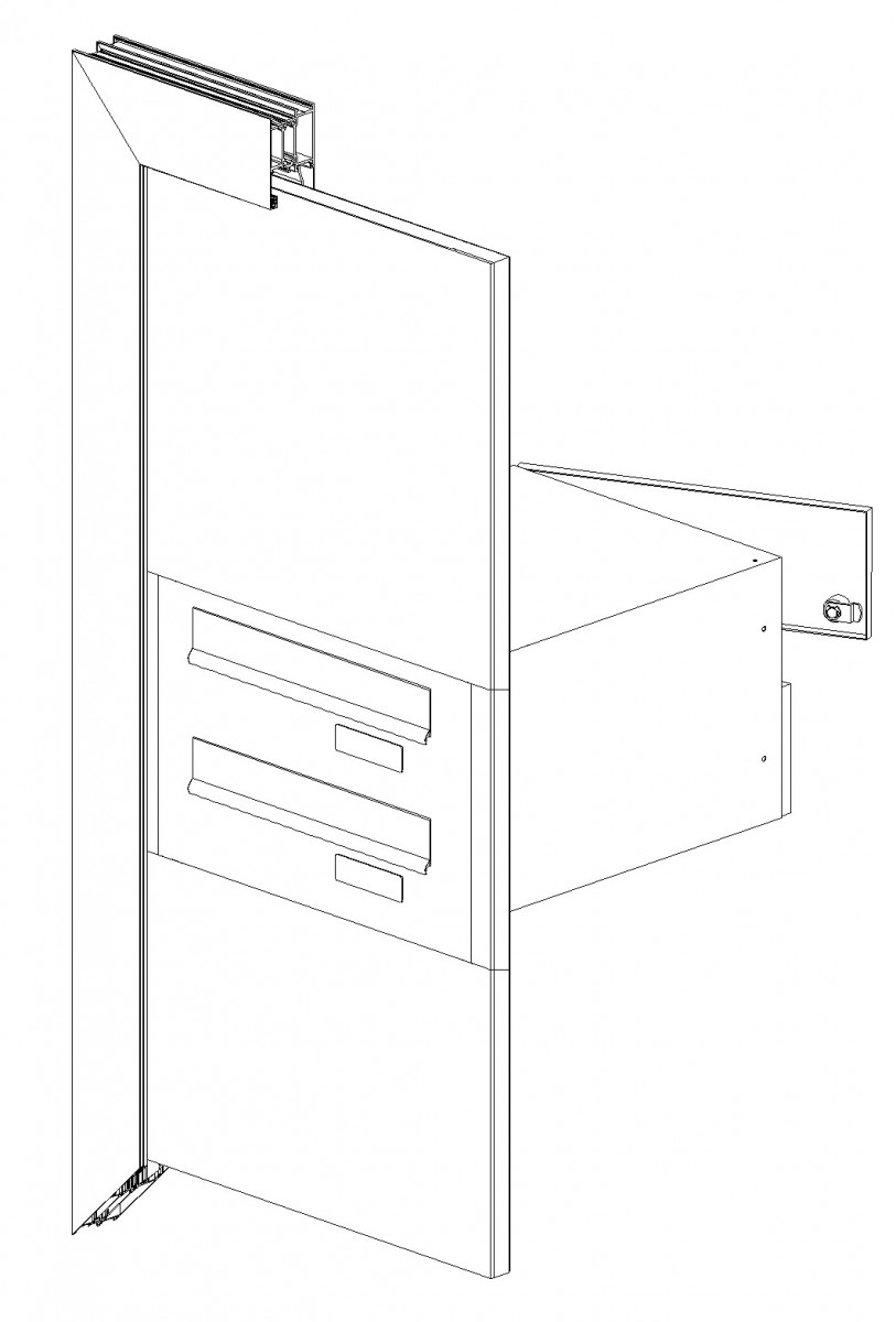 Door mounted rear access letterboxes with panel